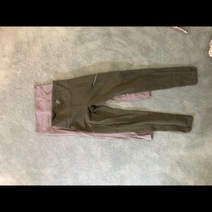 2 PAIRS of athleta leggings, grey& olive green, M